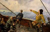 Leiv Eiriksson découvre l'Amérique en l'an 1000, peint par Per Lasson Krohg (1889 - 1965) en 1936